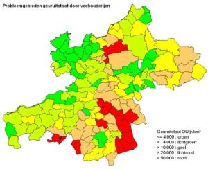 A2 Kaart probleemgebieden geuruitstoot door veehouderijen