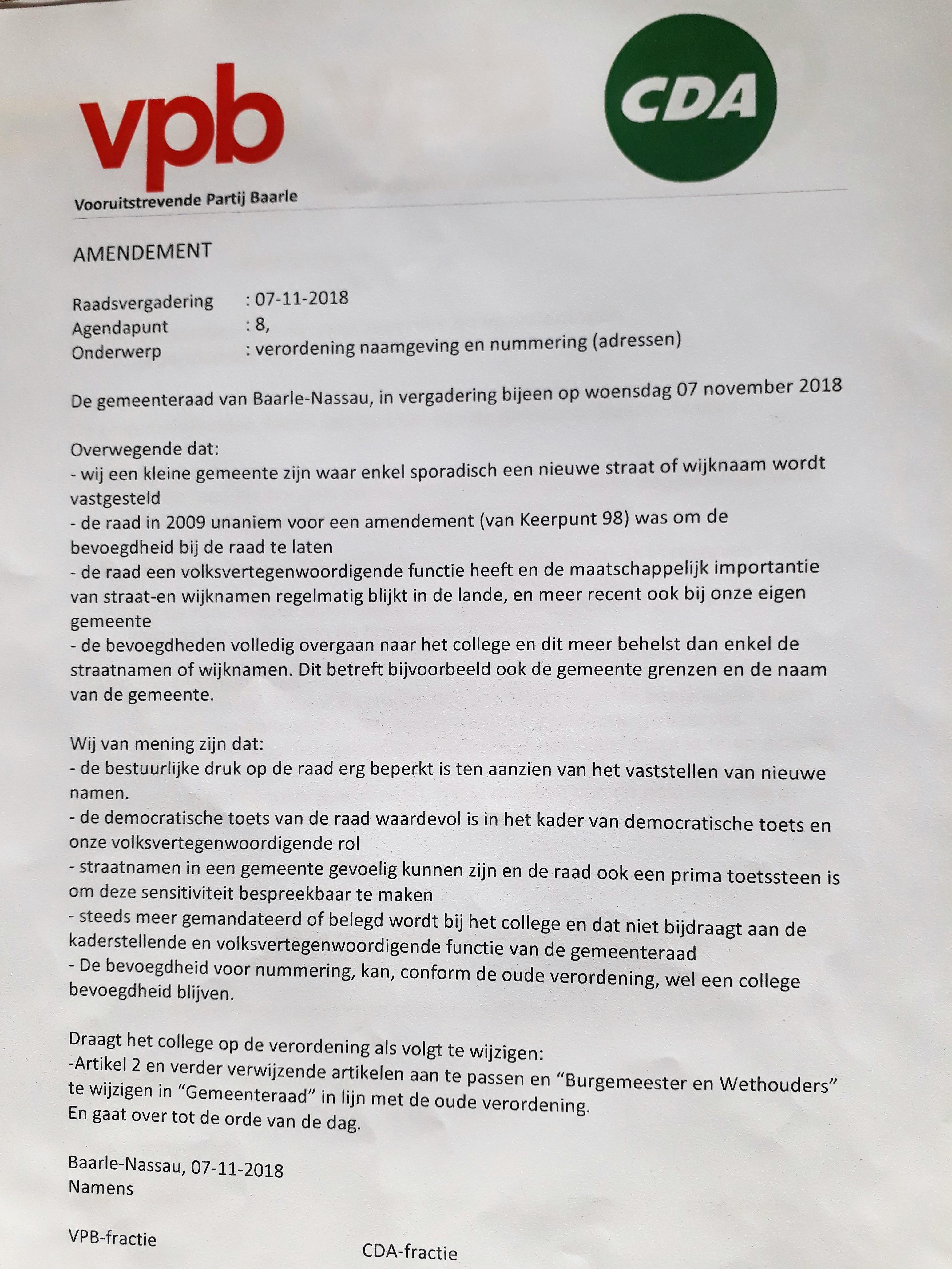 Eerste goedgekeurde amendement van oppositie sinds aantreden coalitie 2 mei 2018