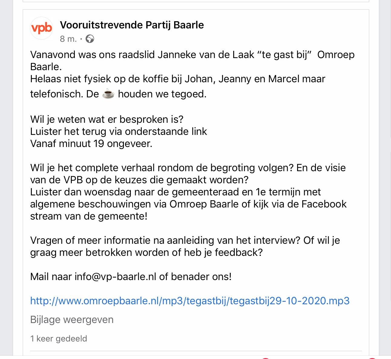 Interview Omroep Baarle met fractie voorzitter